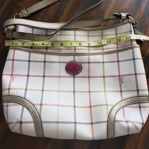 Coach large leather messenger bag. Plaid style.